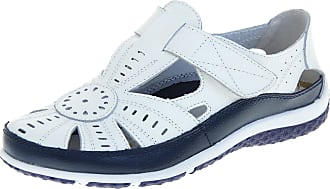 Footwear Studio Coolers Womens Leather May Jane Sandals Flats Shoes White and Navy Blue UK 5