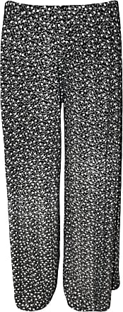WearAll Womens Plus Size Floral Print Wide Leg Ladies Palazzo Trousers Pants - Black White - 12-14