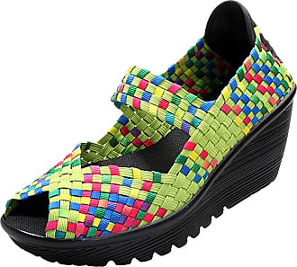 ICEGREY Womens Woven Wedge Platform Sandals Summer Peep Toe Mary Jane Sandals Shoes Green 6