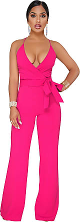 Vdual Women Sleeveless Bodycon V Neck Jumpsuits Ladies Long Evening Party Romper Playsuits Rose