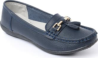 Chums Ladies Womens Leather Loafer Shoe Navy 5 UK