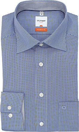 Olymp Mens Olymp Luxuor Modern Fit Micro Check Long Sleeve Shirt - Blue/White - 16.5