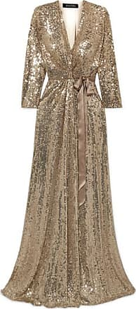 6a21a808 Jenny Packham Satin-trimmed Sequined Silk-chiffon Wrap Gown - Gold