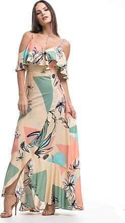 Clara Arruda Vestidos Clara Arruda Longo Decote Babado 50423 - Gg - Floral Color