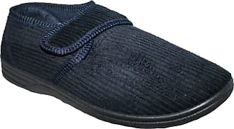 Northwest Territory Diabetic Orthopedic Mens Easy Close Wide-Fitting Touch Close Bar-Strap Shoe Slipper (UK11, Navy Ken)