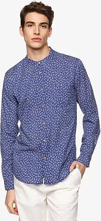 Collo alla coreana-camicia di pure Slim Fit Cotone Blu