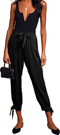 QIYUN.Z Women Harem Pants Wide Leg Pants Female Trousers Casual Spring Summer Loose Pants Black S