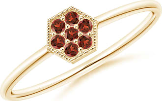Angara Valentine Day Sale - Hexagon-Shaped Garnet Cluster Ring with Milgrain