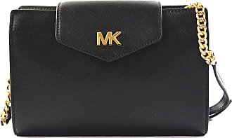 Michael Kors Womens Mott Leather Large Clutch Crossbody Bag Purse Handbag (Black)
