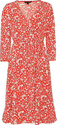 Banana Republic Vestido Banana Republic Curto Print Wrinkle-resistant Wrap Vermelho/Branco