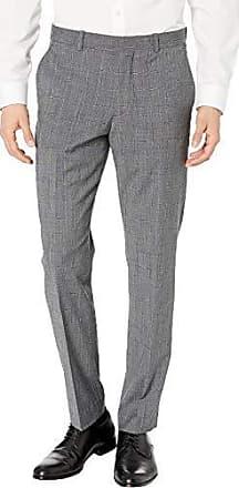 Perry Ellis Mens Slim Fit Stretch Wool Plaid Dress Pant, Charcoal/DHB, 31W X 30L