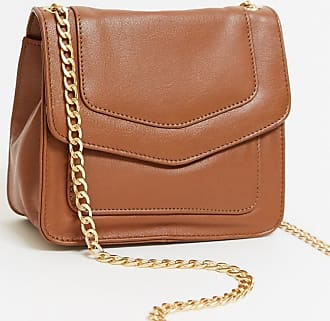 Urban Code leather cross body bag with gold clasp in tan