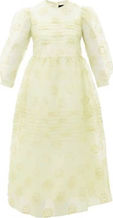 Simone Rocha Puff-sleeved Floral-embroidered Organza Dress - Womens - Green