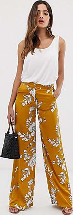 Morgan Pantaloni extra larghi con fondo ampio color senape con stampa a fiori-Giallo