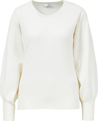 Allude Woll-Cashmere-Pullover mit leichten Puffärmeln Weiß