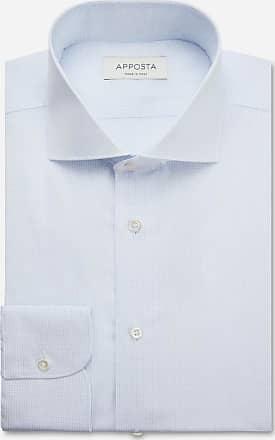 Apposta Shirt small checks light blue 100% pure cotton poplin giza 87, collar style spread collar