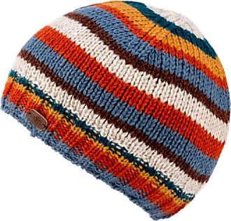 KuSan 100% Wool Brooklyn Knitted Stripe Beanie Hat (Teal/Orange)