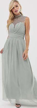 Little Mistress high neck detail maxi dress-Grey