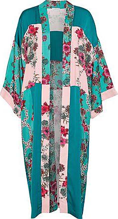 Sandro Sandro Woman Ting Patchwork Floral-print Crepe De Chine Kimono Teal Size 40