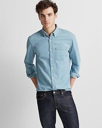 Club Monaco Medium Wash Slim Denim Shirt in Size XS