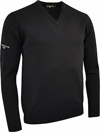Glenmuir Lomond V-Neck Lambswool Sweater / Knitwear (XL) (Black)