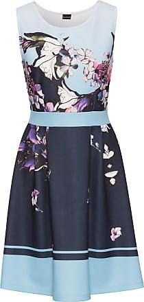 Bodyflirt Dam Blommönstrad klänning i blå utan ärm - BODYFLIRT d8bb5973ab631