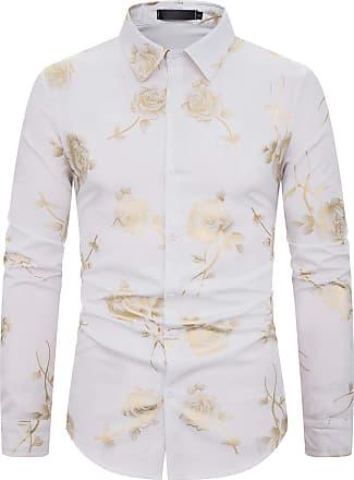 Whatlees Mens Long Sleeve Baroque Golden Flower Design Printing Casual Dress Shirts Button Down 02010186XWhite+XL