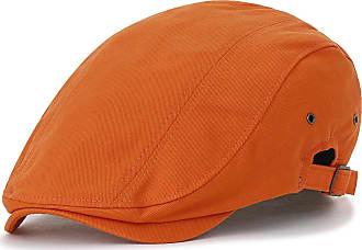 Ililily Cotton Solid Color Adjustable Gatsby Newsboy Hat Cabbie Hunting Flat Cap, Orange