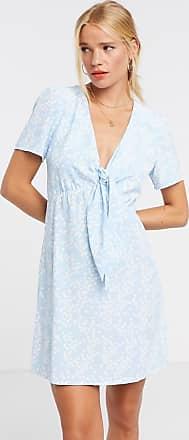 Glamorous Mini-Freizeitkleid mit Blümchenmuster und Knotendetail vorn-Blau