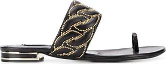 Casadei Catenassé embellished flat sandals - Black