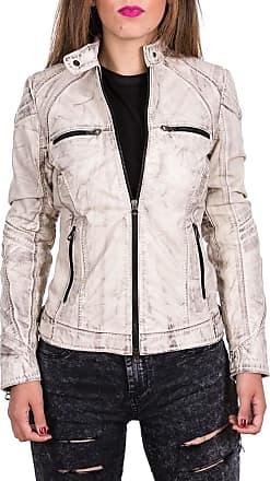 Leather Trend Italy G63 - Giacca Donna in Vera Pelle colore Bianco Tamponato
