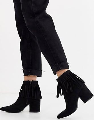 Glamorous Ankle-Boots aus Wildleder mit Fransen-Schwarz