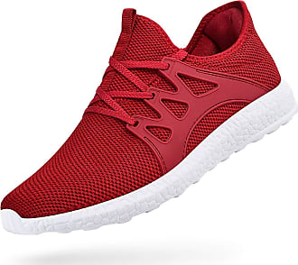 Zocavia Men Women Trainers Lightweight Running Sports Shoes Outdoor Non Slip Walking Gym Fitness Athletic Shoes Red White