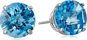 Amazon Collection 10k White Gold Round Checkerboard Cut Blue Topaz Stud Earrings (8mm)
