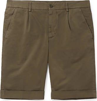 Aspesi Slim-fit Pleated Cotton-twill Chino Shorts - Army green