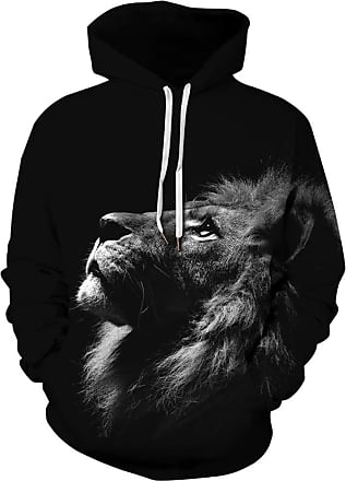 Ocean Plus Mens Hoodie Long Sleeve Pullover Wolf Tiger Hoody with Kangaroo Pocket (XXL/3XL (Chest: 126-146CM), Lion Looks up)
