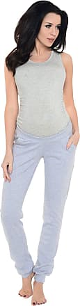 Purpless Maternity Pregnancy Joggers Under Bump Belly Support Comfortable Trousers for Pregnant Women 1314 (14, Light Gray Melange)