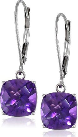 Amazon Collection 10k White Gold Cushion-Cut Checkerboard Amethyst Leverback Earrings (8mm)