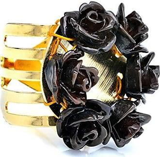 Tinna Jewelry Anel Dourado Cinco Fios Trabalhado Com Resina Preta (Preta)