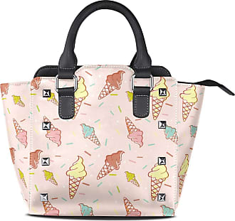 NaiiaN Keepers Purse Shopping for Women Girls Ladies Student Leather Seamless Pattern Colorful Icecream Handbags Tote Bag Shoulder Bags Light Weight Strap