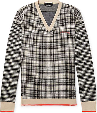 Alexander McQueen Houndstooth And Checked Wool Sweater - Gray