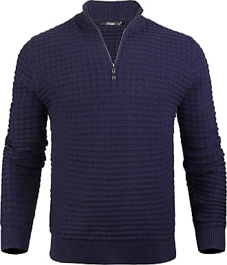 iClosam Mens Jumpers Mens Knit Cardigan Jacket with Funnel Neck with Zipper Blue