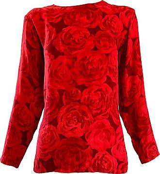 b280197603dd2 Saint Laurent 1990s Yves Saint Laurent Rive Gauche Rose Print Red Silk  Vintage 90s Blouse Top