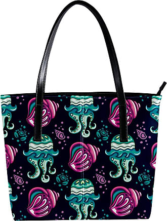 Nananma Womens Bag Shoulder Tote handbag with Tropical Coral Reef Mollusk Shell Print Zipper Purse PU Leather Top-handle Zip Bags