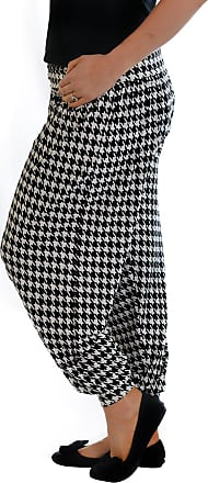 Nouvelle Collection New Womens Plus Size Harem Trousers Ladies Dogtooth Print Ali Baba Bottoms Cuffed Elasticated Pants Black 24-26