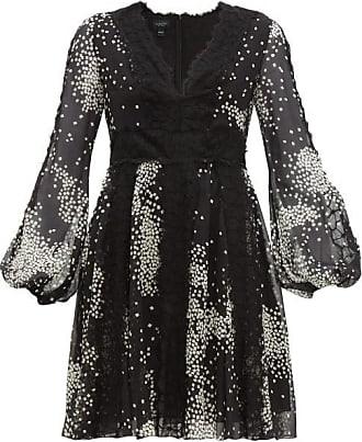 Giambattista Valli Square-print Lace-trim Silk-georgette Dress - Womens - Black White