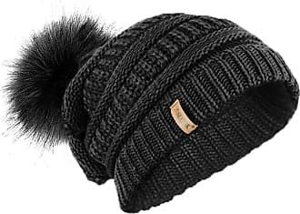 TOSKATOK Ladies Textured Knit Beanie Hat with Detachable Faux Fur Pom Pom - Buy with 1 2 Pom Poms Black