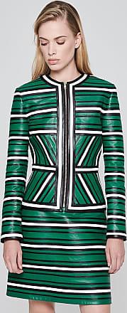 Escada Leather Stripe Paneled Jacket