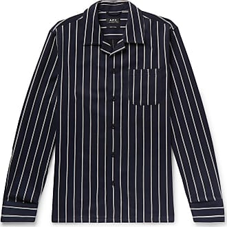 A.P.C. Camp-collar Striped Cotton And Wool-blend Shirt - Navy