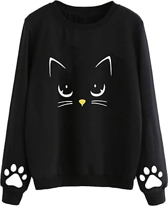 Kobay Women Sweatshirt Top,Lady Cat Printed Round Neck Long Sleeve Regular Blouse Autumn and Winter Black